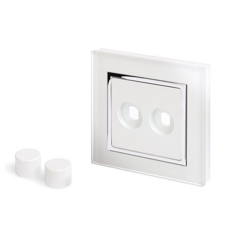 RetroTouch 2 Gang LED Dimmer Plate White Glass CT 02070